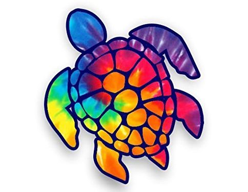 Sea Turtle Decal/sticker rainbow tie dye