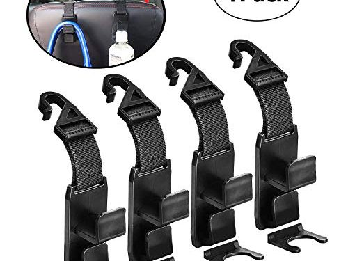 XBRN 4 Pack Car Backseat Headrest Hook, Universal Car Vehicle Back Seat Organizer Storage Hanger Holder Hook for Bag Purse Cloth Grocery