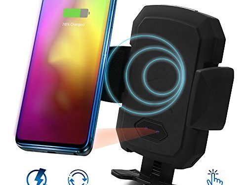 Acumen Wireless Car Charger Mount with Infrared Sensor Automatic Clamping Phone Holder Air Vent Mount Compatible with S9/S8 Note 8/9 X/Xs/Xs Max/8 and More Car Charger Include B1ack