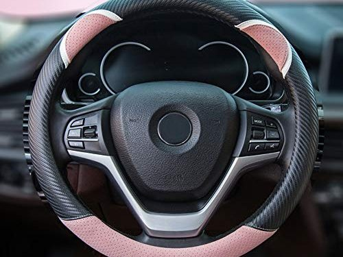 Alusbell Cute Carbon Fiber Steering Wheel Cover Synthetic Leather Auto Car Steering Wheel Cover for Women 15 Inch Pink