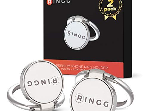 RINGG Phone Ring Holder 2-Pack   Premium Phone Ring Grip for iPhone & Samsung Cell Phones   Magnetic Phone Ring Kickstand with Finger Holder for Smartphone   Silver Phone Ring with 360° Rotation