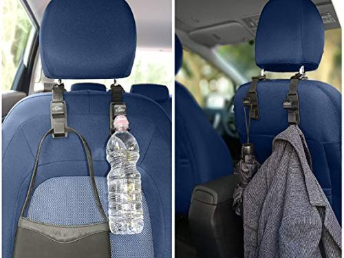 4 Magic Headrest Hooks for Car-Universal Auto Vehicle Hanger Holder Back Front Seat Storage Organizer for Hanging Purse,Handbag,Backpack,Grocery Bags,Women Accessories