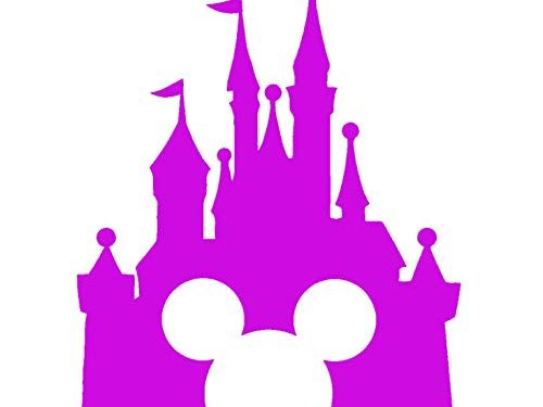 Disney Style Castle with Mickey Inspired Vinyl Car Window Decal Sticker 6″, Light Pink