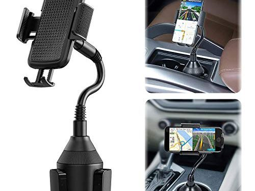 Evetebol Upgraded Car Cup Holder Phone Mount, Universal Adjustable Gooseneck Car Mount with 360° Rotatable Cradle for Cell Phones
