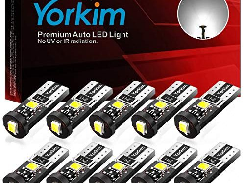 Yorkim 194 Led Bulb Canbus Error Free 3-SMD 2835 Chipsets, T10 Interior Led For Car Dome Map Door Courtesy License Plate Trunk lights with 194 168 W5W 2825 Sockets Pack of 10, White