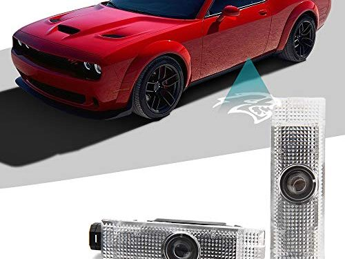 CAR ROVER Car Door LED Logo Projector Lights Welcome Ghost Shadow Courtesy Step Lamp for 2015-2018 Dodge Challenger Series Pack of 2