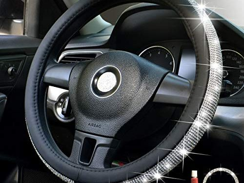 Crystal Steering Wheel Cover, Leather Surface Bling Bling Rhinestone, Black Universal 15-inch Protector for Female Girls. Crystal Steering Wheel Cover