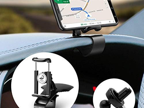 Car Phone Holder, Cutier 2 in 1 Dashboard Car Cell Phone Holder and Air Vent Car Phone Mount, 360-Degree Rotation Adjustable Mobile Clip Stand Suitable for 4 to 7 inches Smartphones