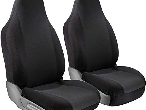 Motorup America Auto Seat Cover Set – Newly Designed – Solid Black – Integrated Bucket Seat – Mesh Grip Tech Covers Fits Select Vehicles Car Truck Van SUV