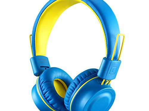 Kids Headphones-noot products K33 Foldable Stereo Tangle-Free 3.5mm Jack Wired Cord On-Ear Headset for Children/Teens/Boys/Girls/Smartphones/School/Kindle/Airplane Travel/Plane/Tablet Electric Blue