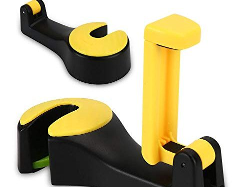 2PCS Car Headrest Hooks Phone Holder, Magic Yellow Front Seat Back Organizers with Clip and Lock, Universal Vehicle BackseatStorage Hanger for Handbags, Purse, Clothes, Grocery Bag