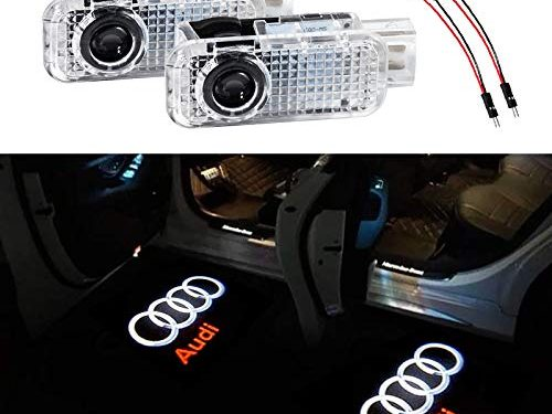Car Door LED Lighting Entry Ghost Shadow Projector Welcome Lamp Logo Light for AUDI Series Symbol Emblem Courtesy Step Lights Kit Replacement(2 pack)