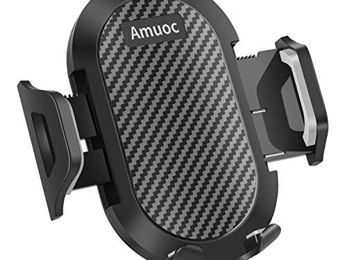 Amuoc Universal Smartphone Car Air Vent Mount Holder Cradle Compatible with iPhone Xs XS Max XR X 8 8+ 7 7+ SE 6s 6+ 6 5s 4 Samsung and All Smartphones Black Black