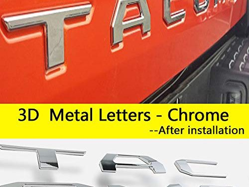 Auto safety 3D Raised Tailgate Metal Letters for Toyota Tacoma 2016 2017 2018 2019 Tailgate Inserts Chrome Toyota Tacoma Accessories