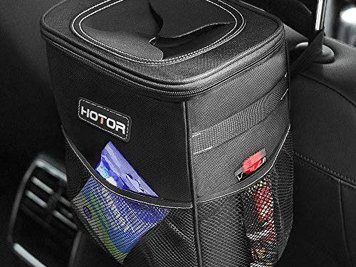 HOTOR Car Trash Can with Lid and Storage Pockets, 100% Leak-Proof Car Organizer, Waterproof Car Garbage Can, Multipurpose Trash Bin for Car – Black