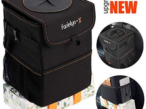 Farielyn-X Car Trash Garbage Bag Can – Car Trash Can with Lid and Storage Pockets Leak-Proof Vinyl