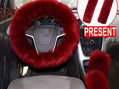 Alusbell 1 Set 5 Pcs Car Steering Wheel Cover & Handbrake Cover & Gear Shift Cover Set & Seat Belt Shoulder Pads Faux Wool Warm Winter Wine Red