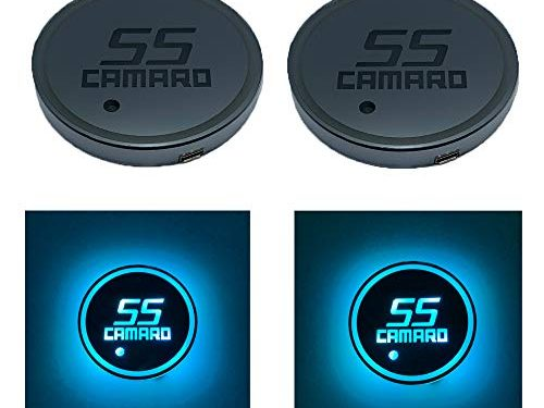 Auto Sport 2PCS LED Cup Holder Mat Pad Coaster with USB Rechargeable Interior Decoration Light Fit Camaro Accessory