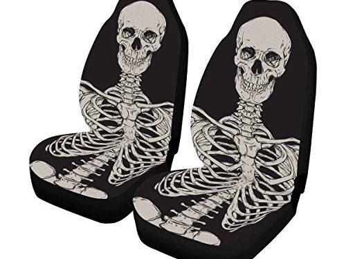 INTERESTPRINT Human Skeleton Front Seat Covers 2 pc,Car Seat Covers Front Seats Only Universal Fit