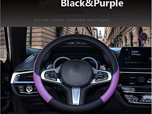 Follicomfy Automotive Steering Wheel Cover Genuine Leather Anti Slip Wrap 15″,Purple