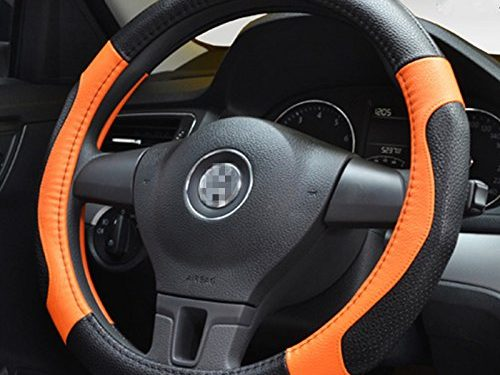 Moyishi Top Leather Steering Wheel Cover Universal Fit Soft Breathable Steering Wheel Wrap Orange