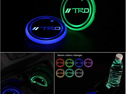 Auto Sport 2PCS LED Cup Holder Mat Pad Coaster with USB Rechargeable Interior Decoration Light Fit TRD Accessories