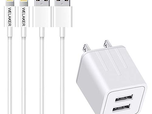 iPhone Charger WELAKER 2Pack 6ft lightning Cable iPad cord High Speed Data Sync Fast Transfer Wall Charger 2 Port Adapter Charging PlugETL Listed Compatible With iPhone XS MAX/XR/X/8/7/Plus/6S/6/SE
