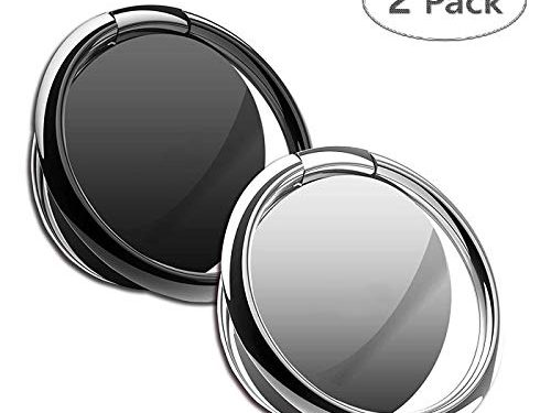 Universal Finger Kickstand 360°Rotation Metal Ring Grip for Magnetic Car Mount Compatible with All Smartphone Black & Silver – Phone Ring Holder Finger Ring Stand Pack of 2