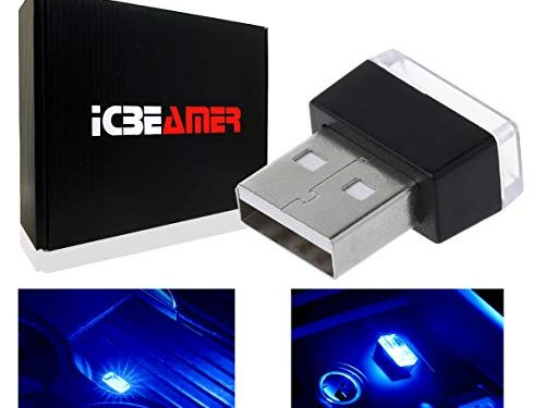 ICBEAMER 1 pc Blue Universal USB Interface Plug-in Miniature Night Light LED Car Interior Trunk Ambient Atmosphere
