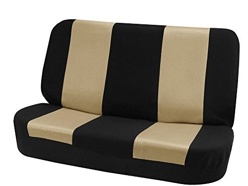 FH Group FB102010 Classic Cloth Bench Seat Covers Beige/Black Color- Fit Most Car, Truck, SUV, or Van