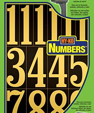 Hy-Ko Products MM-5N Self Adhesive Vinyl Numbers 3″ High, Black & Gold, 26 Pieces