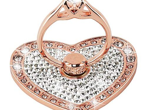 Nsiucion Phone Ring Stand Holder, Heart Crystal Diamond Rhinestone Glitter Sparkle Universal 360 Degree Rotating Portable Kickstand Grip for Any Smartphones and Tablets Rose Gold
