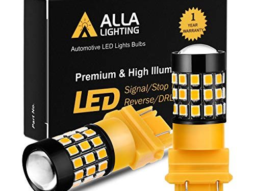 Alla Lighting 3157 LED Bulbs Super Bright 3156 3056 3157KX 4157 3457 4157NAK 3757 T25 Wedge LED Turn Signal Blinker Lights, Amber Yellow