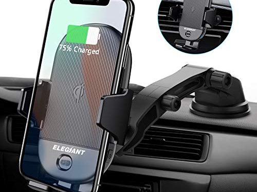 ELEGIANT Qi Wireless Car Charger Mount, 15W 10W 7.5W Infrared Sensor Automatic Clamping Windshield Dashboard Air Vent Phone Holder Compatible with iPhone Xs/XS Max/XR/X/8/8+, Samsung S10/S10+/S9/S9+