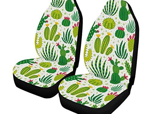 INTERESTPRINT Cactus Bright Green Cacti Desert Plants Car Seat Cover Front Seats Only Full Set of 2, Car Front Seat Cushion Fit Car, Truck, SUV or Van