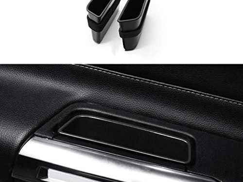 TopDall Front Door Side Storage Box Handle Pocket Armrest Phone Container for Ford Mustang 2015-2019