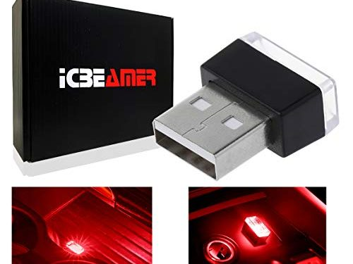 ICBEAMER 1pc Red LED Universal USB Interface Plug-in Miniature Night Light Auto Interior Trunk Ambient Atmosphere
