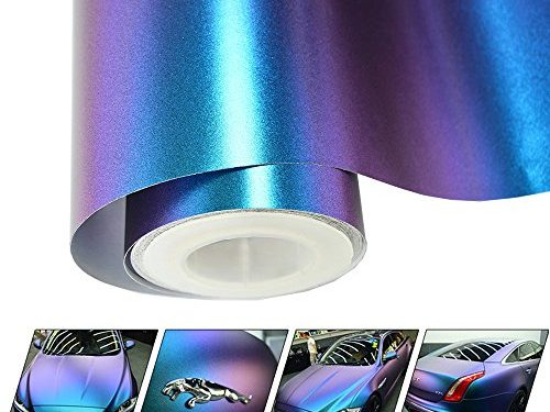 VINYL FROG Chameleon Vinyl Wrap Matte Metallic Vehicle Film Purple to Blue Stretchable Air Release DIY Decals 5ft x 10ft