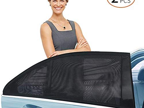 Delicacy Car Rear Side Window Sun Shade, Maximum Protect Your Baby and Kids from The Sun,UV Rays,Universal Car Mosquito Net Car Curtains Fit for Most of Cars 2 Pack,Size XL
