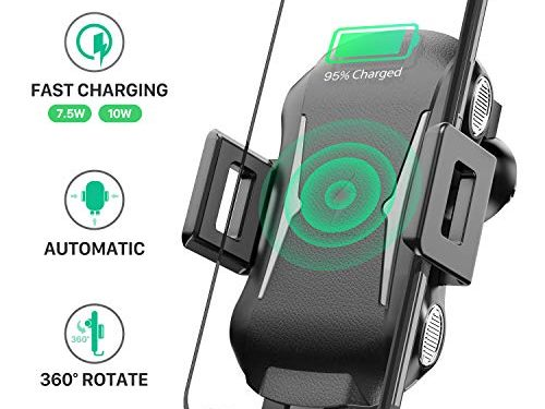 Wireless Car Charger Mount, Automatic Clamping Wireless Qi Fast Charging Phone Holder for Car, 10W/7.5W/5W Charger Compatible iPhone Xs Max XR X 8 8 Plus, Samsung Galaxy S10 S10+S9 S9+ S8 Note 9