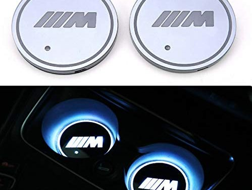 Auto sport 2PCS LED Cup Holder Mat Pad Coaster with USB Rechargeable Interior Decoration Light for BMW-M Accessory