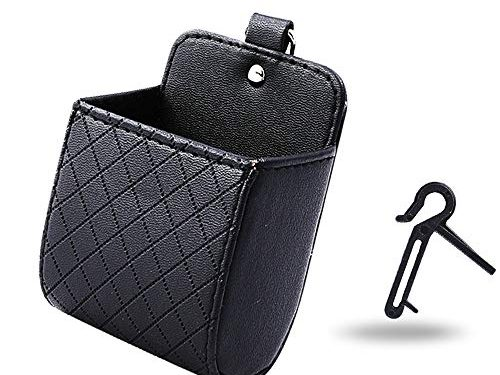 Car Air Vent Organizer Box Storage Bag with Hook | Universal Auto Mount Outlet Storage Box Hanging Leather Container Pocket Coin Case Bag Pouch Phone Holder Black