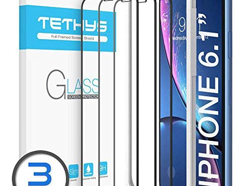 Pack of 3 – TETHYS Glass Screen Protector Designed for iPhone 11 / iPhone XR 6.1″ Edge to Edge Coverage Full Protection Durable Tempered Glass Compatible iPhone XR/11 Guidance Frame Include