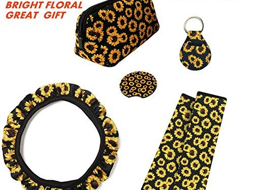 judysen Sunflower Steering Wheel Cover Set,Safe Non Slip Neoprene Material Stretch-on Fabric Steering Wheel Cover Car Accessories for Women Universal Fit