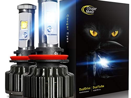 H11 H8, H9 -7,200Lm 6000K Cool White CREE – Cougar Motor LED Headlight Bulbs All-in-One Conversion Kit