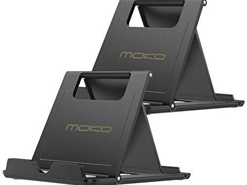 MoKo Phone/Tablet Stand, 2 Pack Foldable Desktop Holder Fit iPhone 11 Pro Max/11 Pro/11, iPhone Xs/XS Max/XR/X, Galaxy Note 10 Plus 6.8″, New iPad Air 3, Mini 5, Black
