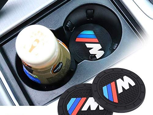 Auto sport 2.75 Inch Diameter Oval Tough Car Logo Vehicle Travel Auto Cup Holder Insert Coaster Can 2 Pcs Pack Fit BMW-M Accessory