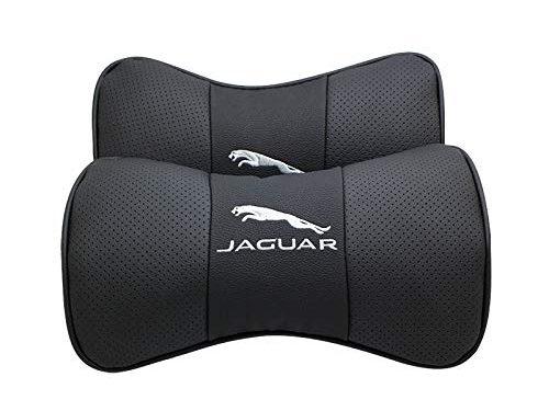 Auto Sport 2 PCS Genuine Leather Bone-Shaped Car Seat Pillow Neck Rest Headrest Comfortable Cushion Pad with Logo Pattern fit Ja-guar Accessory