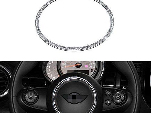 Thor-Ind Car Steering Wheel Emblem Logo Badge Decorative Ring for Mini Cooper Crystal Diamond Car Stickers Interior Decoration Stickers Steering Wheel Ring