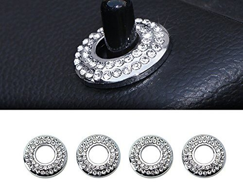 Thor-Ind 4PCS Door Lock Knob Ring Trim for BMW Mini Cooper Countryman Clubman 2007 UP R55 R56 R57 R58 R59 R60 etc Bling Crystal Door Lock Cap Cover Protective Sticker 4pcs, Door Pin Ring